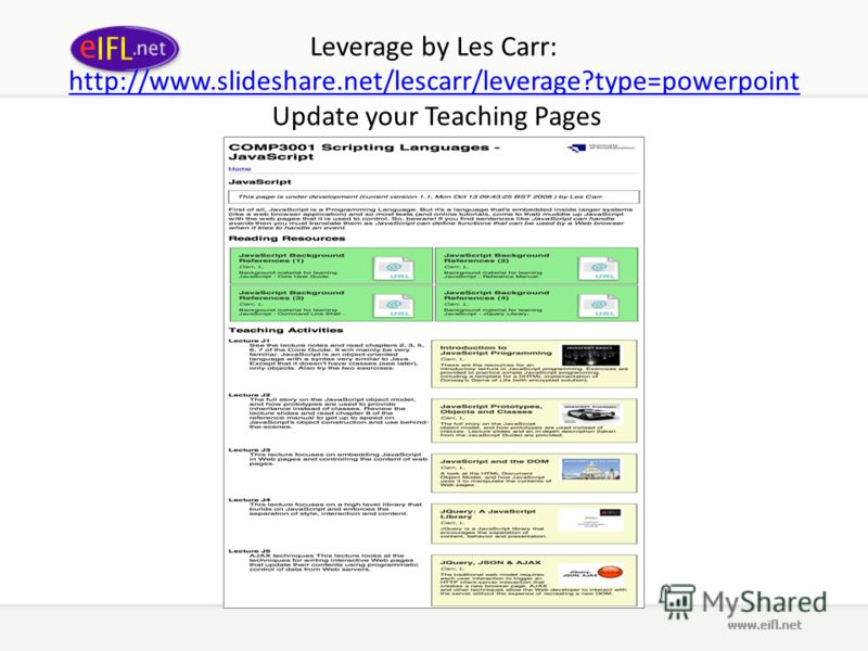 Leverage by Les Carr: http://www.slideshare.net/lescarr/leverage?type=powerpoint Update your Teaching Pages http://www.slideshare.net/lescarr/leverage?type=powerpoint