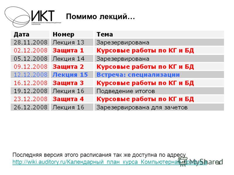 4 Помимо лекций… Последняя версия этого расписания так же доступна по адресу http://wiki.auditory.ru/Календарный_план_курса_Компьютерная_графика http://wiki.auditory.ru/Календарный_план_курса_Компьютерная_графика