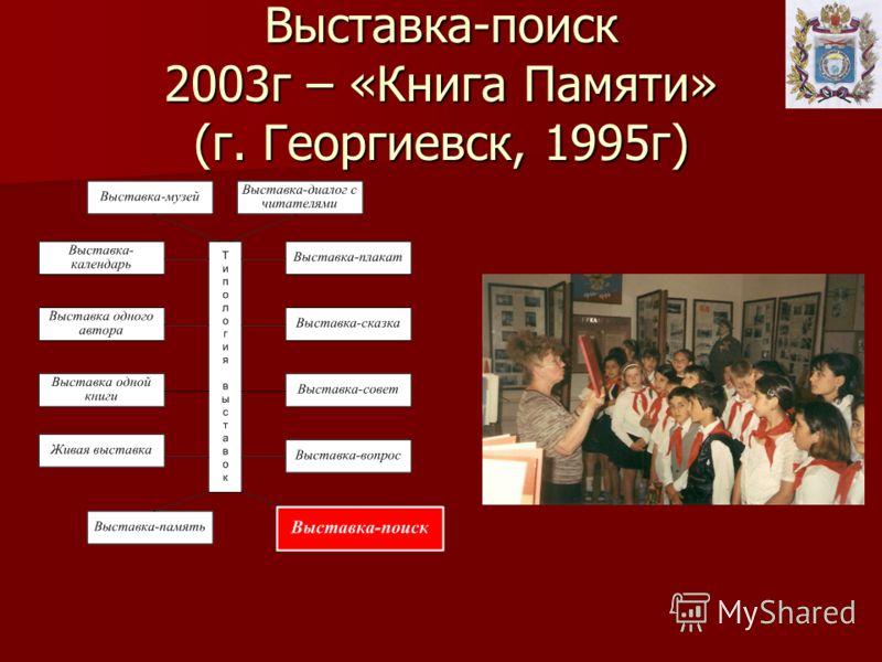 Выставка-поиск 2003г – «Книга Памяти» (г. Георгиевск, 1995г)