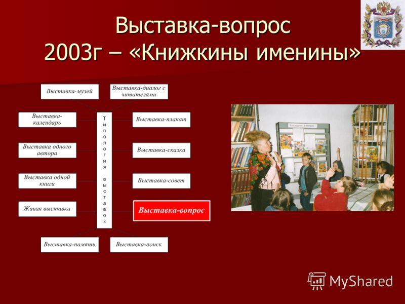 Выставка-вопрос 2003г – «Книжкины именины»