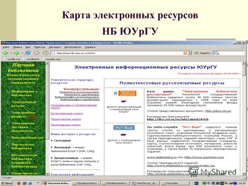 Карта электронных ресурсов НБ ЮУрГУ