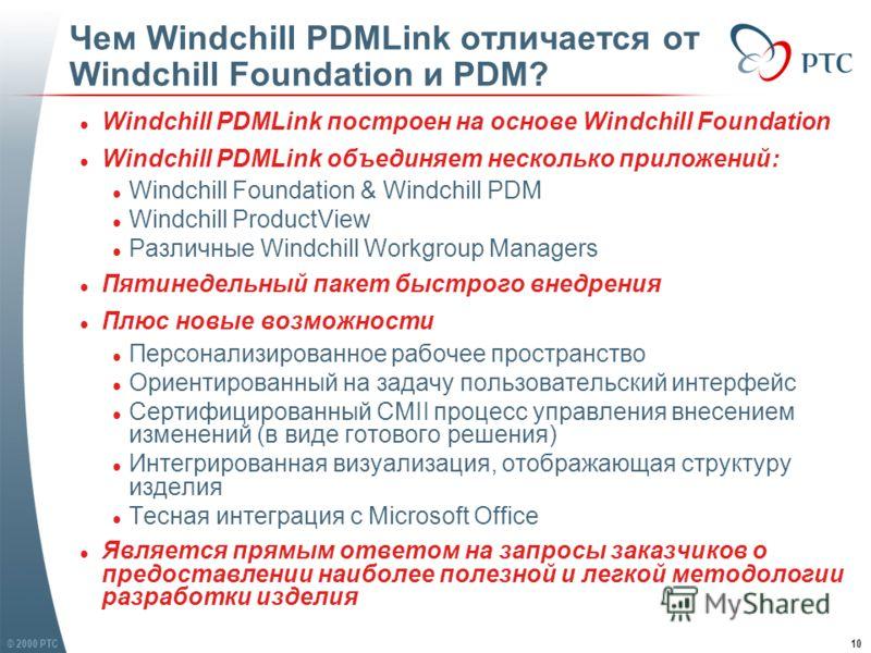 © 2000 PTC10 Чем Windchill PDMLink отличается от Windchill Foundation и PDM? l Windchill PDMLink построен на основе Windchill Foundation l Windchill PDMLink объединяет несколько приложений: l Windchill Foundation & Windchill PDM l Windchill ProductVi