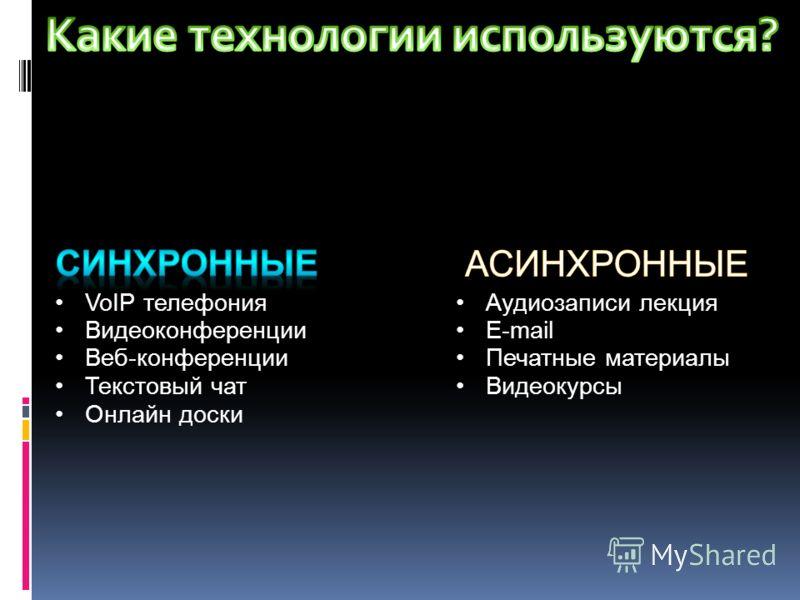 VoIP телефония Видеоконференции Веб-конференции Текстовый чат Онлайн доски Аудиозаписи лекция E-mail Печатные материалы Видеокурсы