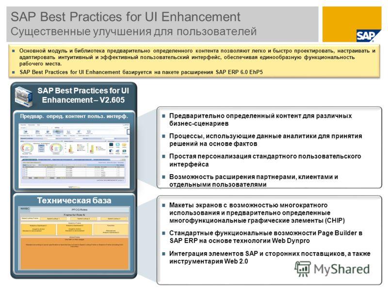 SAP Best Practices for UI Enhancement Существенные улучшения для пользователей Предварительно определенный контент для различных бизнес-сценариев Процессы, использующие данные аналитики для принятия решений на основе фактов Простая персонализация ста