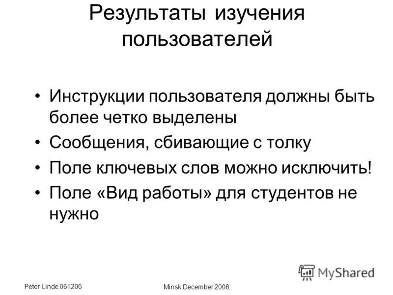 Peter Linde 061206 Minsk December 2006 Результаты изучения пользователей Инструкции пользователя должны быть более четко выделены Сообщения, сбивающие с толку Поле ключевых слов можно исключить! Поле «Вид работы» для студентов не нужно