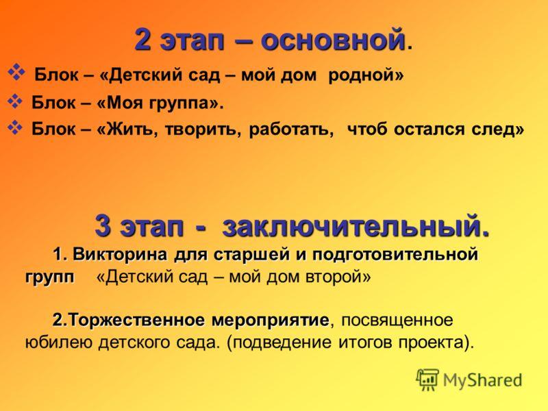2 этап – основной 2 этап – основной. Блок – «Детский сад – мой дом родной» Блок – «Моя группа». Блок – «Жить, творить, работать, чтоб остался след» 3 этап - заключительный. 1. Викторина для старшей и подготовительной групп 1. Викторина для старшей и
