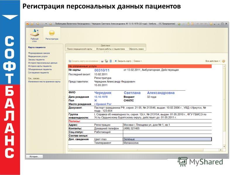 Регистрация персональных данных пациентов