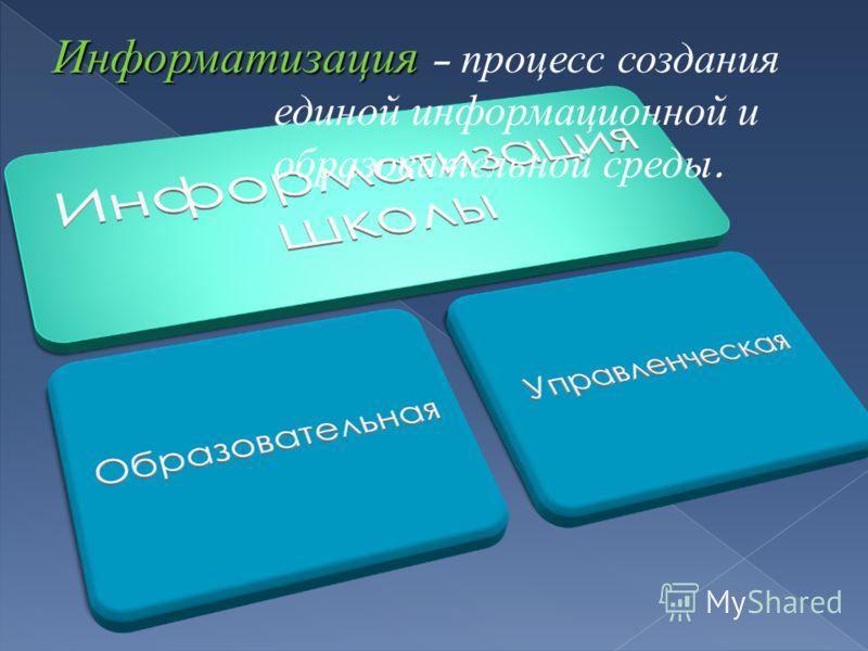Информатизация – п роцесс с оздания единой и нформационной и образовательной с реды.