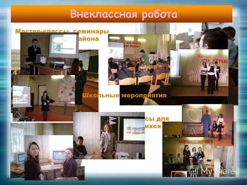 Мастер-классы, семинары для учителей района Компьютерные курсы для учителей и учащихся Внеклассная работа Школьные мероприятия