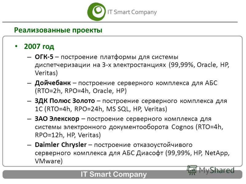 Реализованные проекты 2007 год – ОГК-5 – построение платформы для системы диспетчеризации на 3-х электростанциях (99,99%, Oracle, HP, Veritas) – Дойчебанк – построение серверного комплекса для АБС (RTO=2h, RPO=4h, Oracle, HP) – ЗДК Полюс Золото – пос