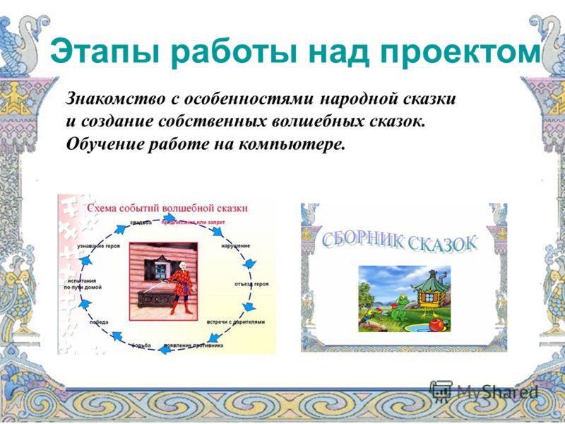 Этапы работы над проектом Знакомство с особенностями народной сказки и создание собственных волшебных сказок. Обучение работе на компьютере.