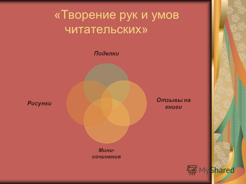 «Творение рук и умов читательских» Поделки Отзывы на книги Мини- сочинения Рисунки