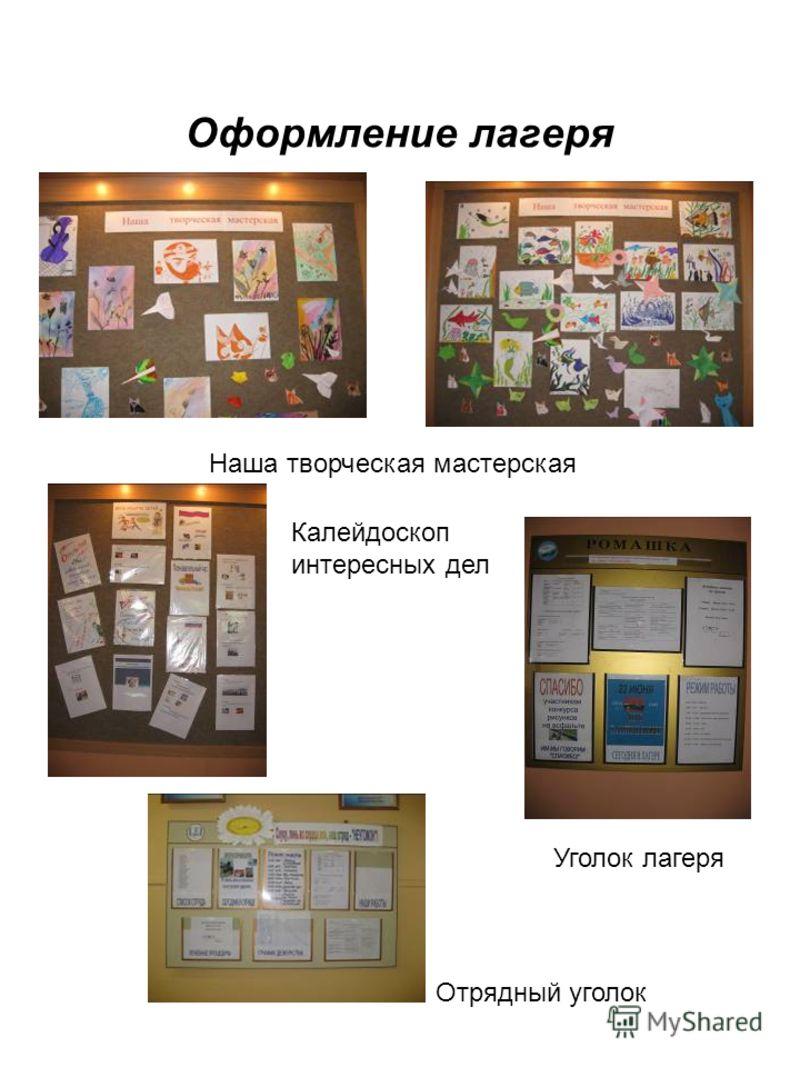 Оформление лагеря Наша творческая мастерская Калейдоскоп интересных дел Уголок лагеря Отрядный уголок