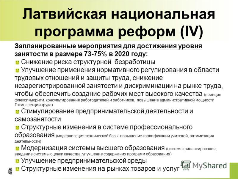65 Латвийская национальная программа реформ (IV) Запланированные мероприятия для достижения уровня занятости в размере 73-75% в 2020 году: Снижение риска структурной безработицы Улучшение применения нормативного регулирования в области трудовых отнош