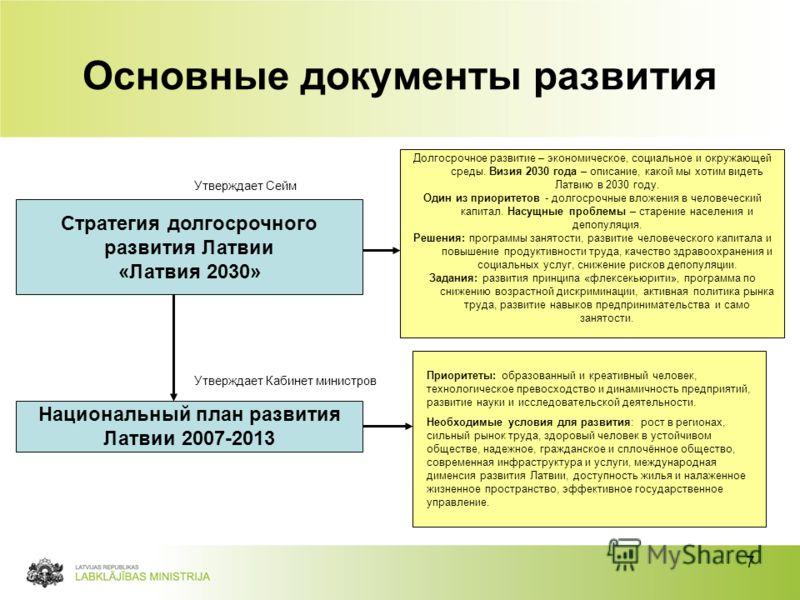 7 Основные документы развития Стратегия долгосрочного развития Латвии «Латвия 2030» Национальный план развития Латвии 2007-2013 Долгосрочное развитие – экономическое, социальное и окружающей среды. Визия 2030 года – описание, какой мы хотим видеть Ла