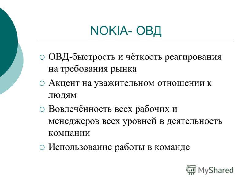 NOKIA- ОВД ОВД-быстрость и чёткость реагирования на требования рынка Акцент на уважительном отношении к людям Вовлечённость всех рабочих и менеджеров всех уровней в деятельность компании Использование работы в команде