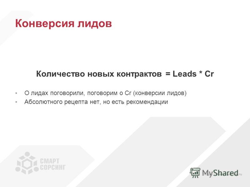 Конверсия лидов Количество новых контрактов = Leads * Cr О лидах поговорили, поговорим о Cr (конверсии лидов) Абсолютного рецепта нет, но есть рекомендации