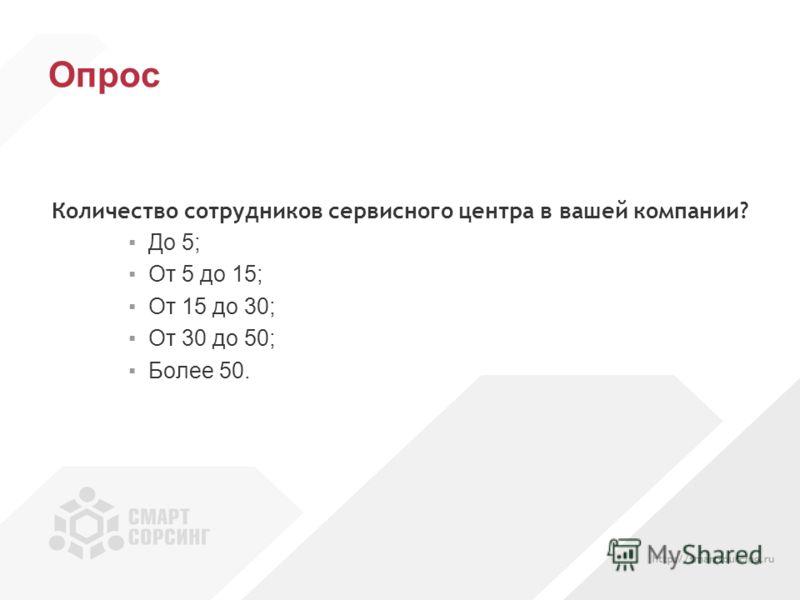 Опрос Количество сотрудников сервисного центра в вашей компании? До 5; От 5 до 15; От 15 до 30; От 30 до 50; Более 50.