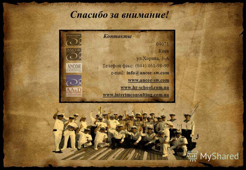 Спасибо за внимание! Контакты 04071 Киев ул.Хорива, 3-А Телефон/факс: (044) 461-98-90 e-mail: info@ancor-sw.com www.ancor-sw.com www.hr-school.com.ua www.interimconsulting.com.ua