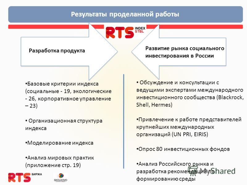 Результаты проделанной работы Разработка продукта Развитие рынка социального инвестирования в России Базовые критерии индекса (социальные - 19, экологические - 26, корпоративное управление – 23) Организационная структура индекса Моделирование индекса