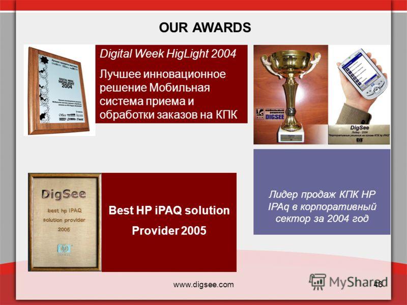 www.digsee.com46 OUR AWARDS Digital Week HigLight 2004 Лучшее инновационное решение Мобильная система приема и обработки заказов на КПК Лидер продаж КПК НР IPAq в корпоративный сектор за 2004 год Best HP iPAQ solution Provider 2005