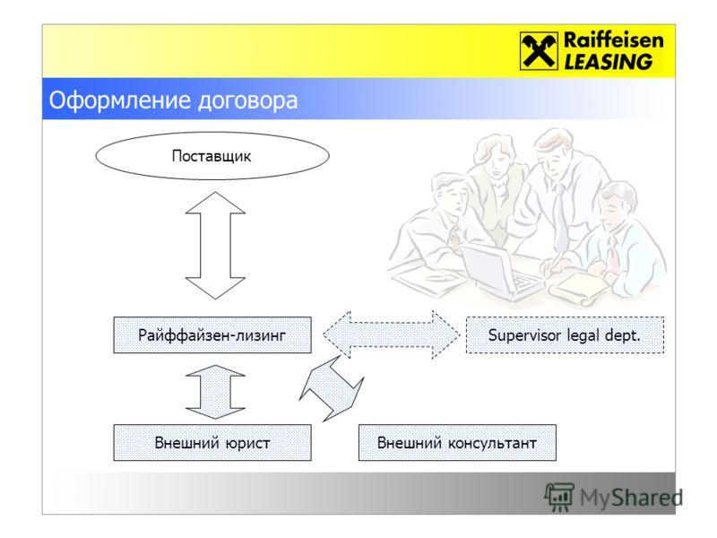 Оформление договора Райффайзен-лизинг Внешний юрист Поставщик Supervisor legal dept. Внешний консультант