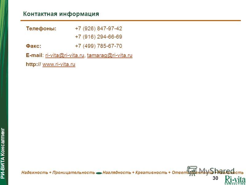 РИ-ВИТА Консалтинг Надежность + Проницательность Наглядность + Креативность + Ответственность + Реальность 30 Телефоны:+7 (926) 847-97-42 +7 (916) 294-66-69 Факс: +7 (499) 785-67-70 E-mail: ri-vita@ri-vita.ru, tamarag@ri-vita.ruri-vita@ri-vita.rutama