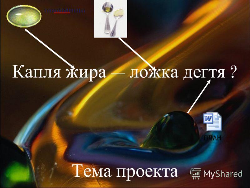 Капля жира ложка дегтя ? Тема проекта