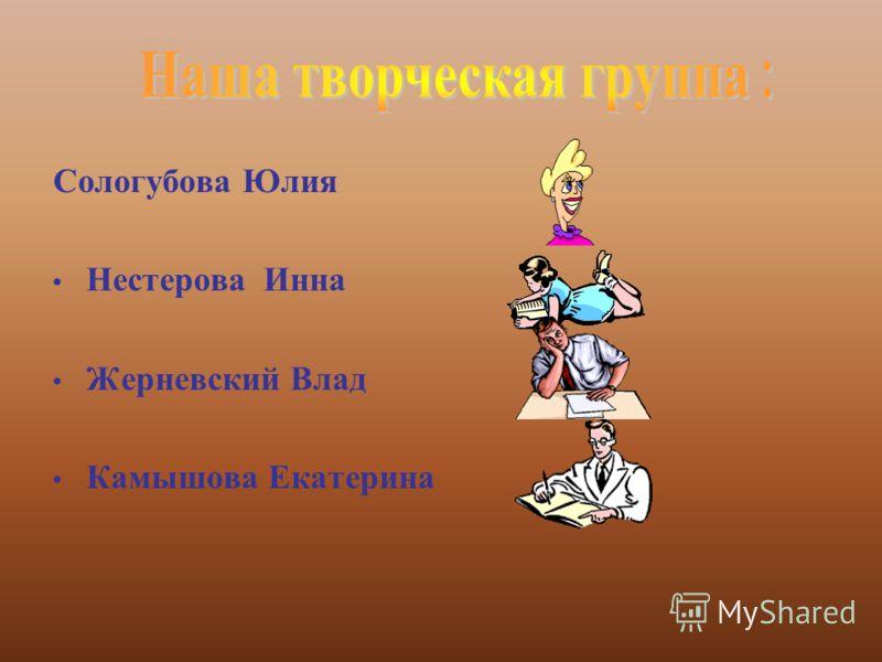 Сологубова Юлия Нестерова Инна Жерневский Влад Камышова Екатерина