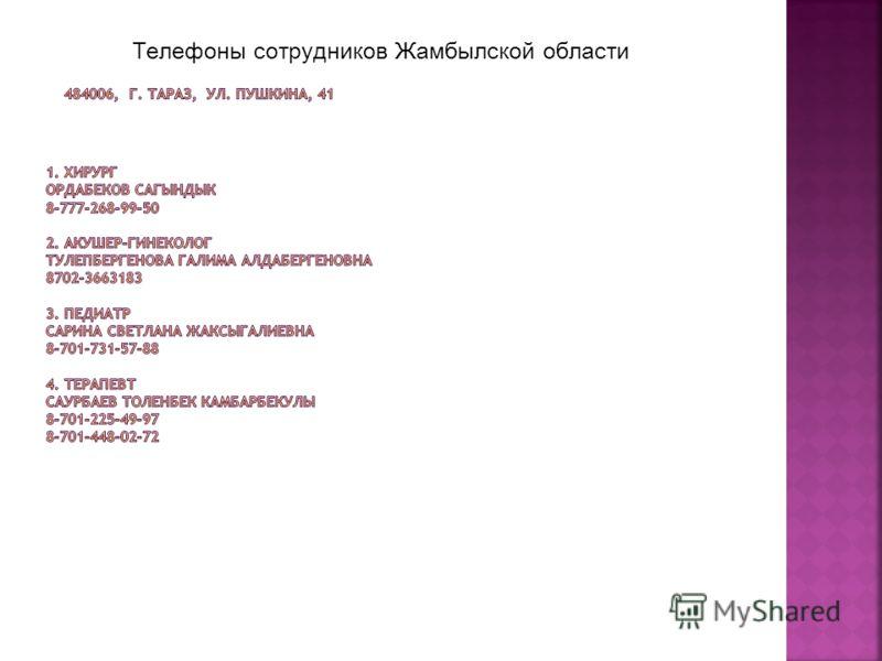 Телефоны сотрудников Жамбылской области
