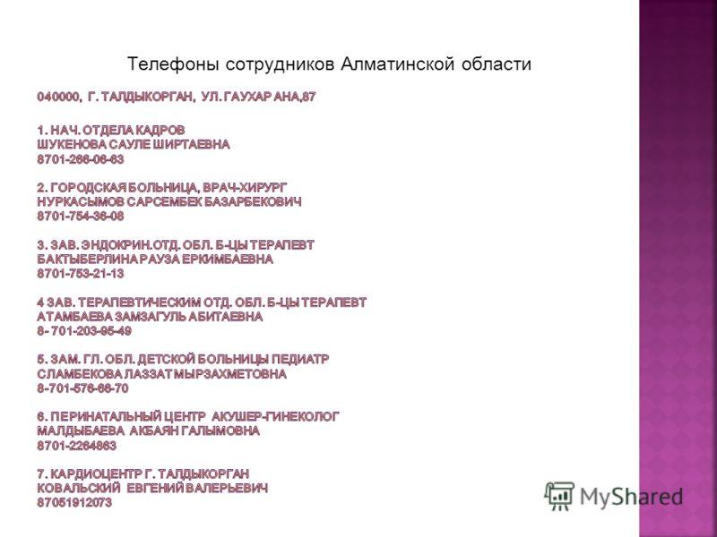 Телефоны сотрудников Алматинской области