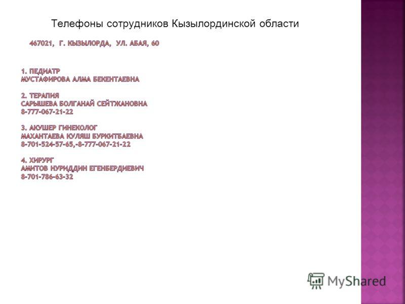 Телефоны сотрудников Кызылординской области