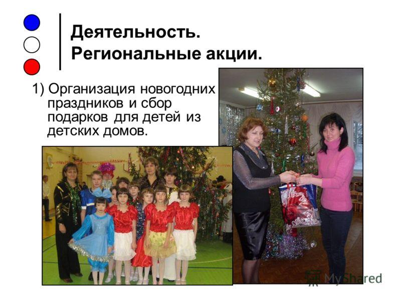 Деятельность. Региональные акции. 1) Организация новогодних праздников и сбор подарков для детей из детских домов.