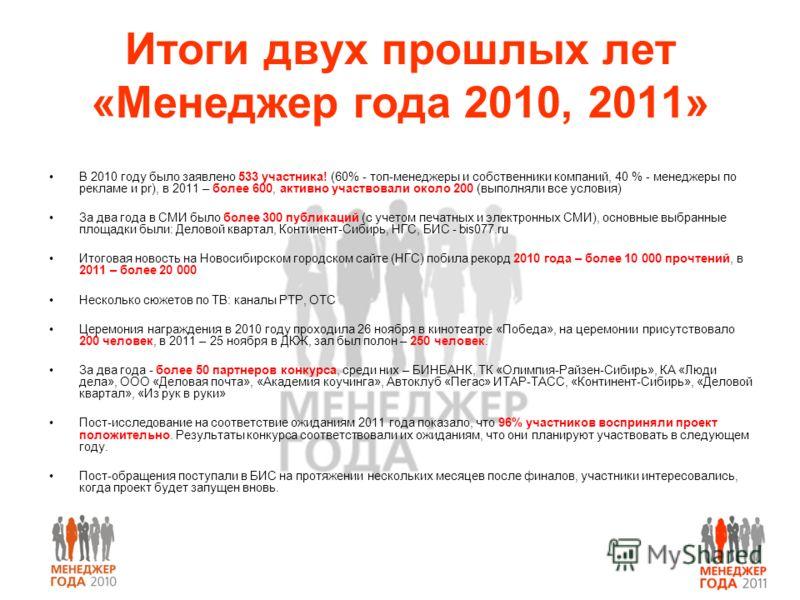 Итоги двух прошлых лет «Менеджер года 2010, 2011» В 2010 году было заявлено 533 участника! (60% - топ-менеджеры и собственники компаний, 40 % - менеджеры по рекламе и pr), в 2011 – более 600, активно участвовали около 200 (выполняли все условия) За д