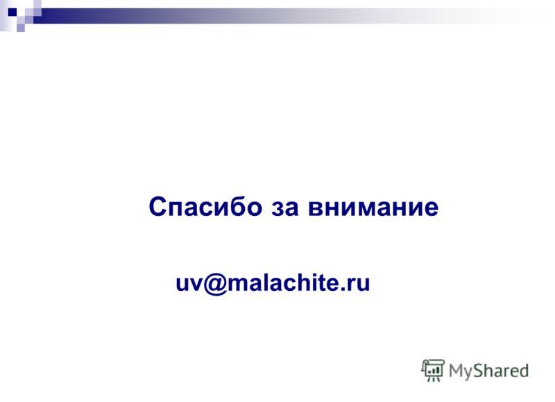 Спасибо за внимание uv@malachite.ru