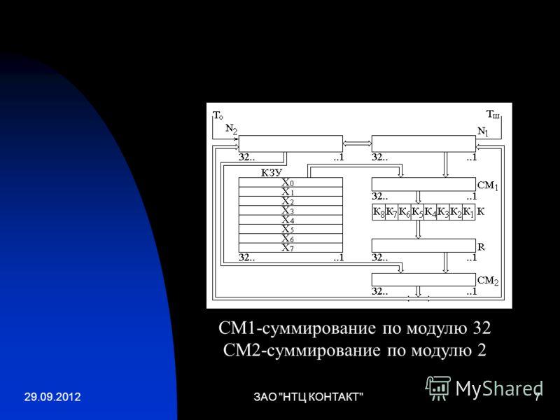 02.07.2012ЗАО НТЦ КОНТАКТ7 СМ1-суммирование по модулю 32 СМ2-суммирование по модулю 2