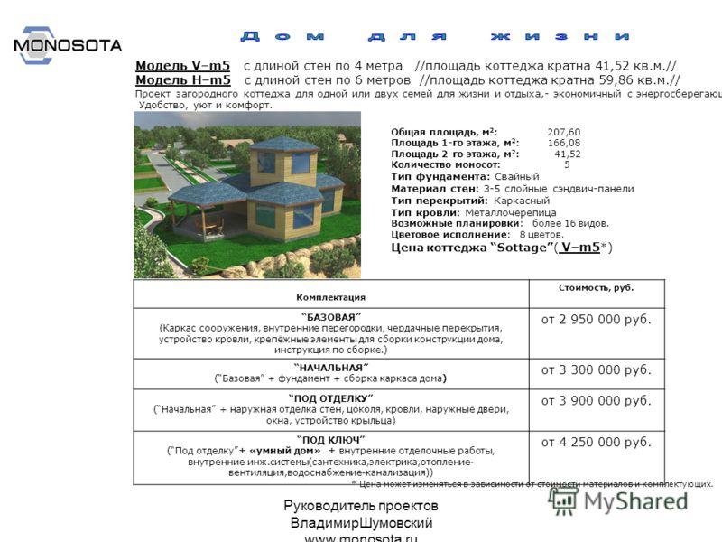 Руководитель проектов ВладимирШумовский www.monosota.ru Модель V–m5 с длиной стен по 4 метра //площадь коттеджа кратна 41,52 кв.м.// Модель Н–m5 с длиной стен по 6 метров //площадь коттеджа кратна 59,86 кв.м.// Проект загородного коттеджа для одной и