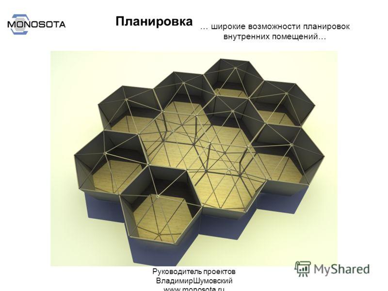 Руководитель проектов ВладимирШумовский www.monosota.ru … широкие возможности планировок внутренних помещений… Планировка