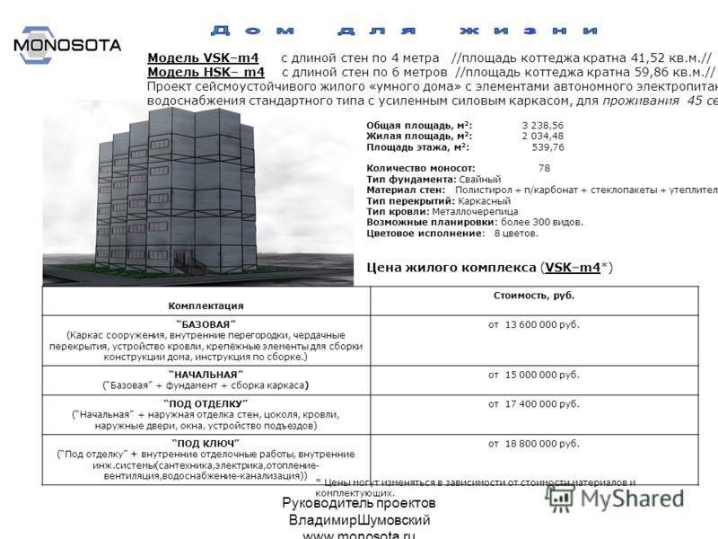 Руководитель проектов ВладимирШумовский www.monosota.ru Модель VSK–m4 с длиной стен по 4 метра //площадь коттеджа кратна 41,52 кв.м.// Модель НSK– m4 с длиной стен по 6 метров //площадь коттеджа кратна 59,86 кв.м.// Проект сейсмоустойчивого жилого «у