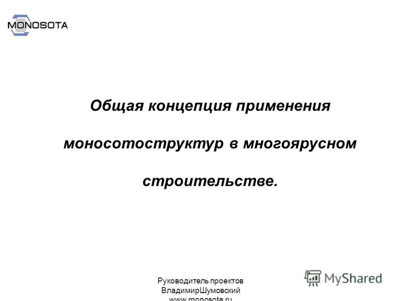 Руководитель проектов ВладимирШумовский www.monosota.ru Общая концепция применения моносотоструктур в многоярусном строительстве.