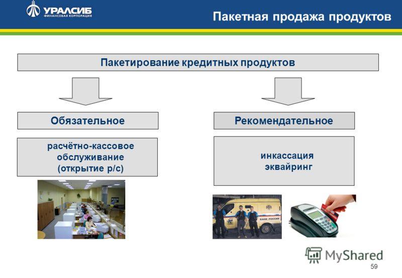 59 Пакетная продажа продуктов Пакетирование кредитных продуктов ОбязательноеРекомендательное расчётно-кассовое обслуживание (открытие р/с) инкассация эквайринг