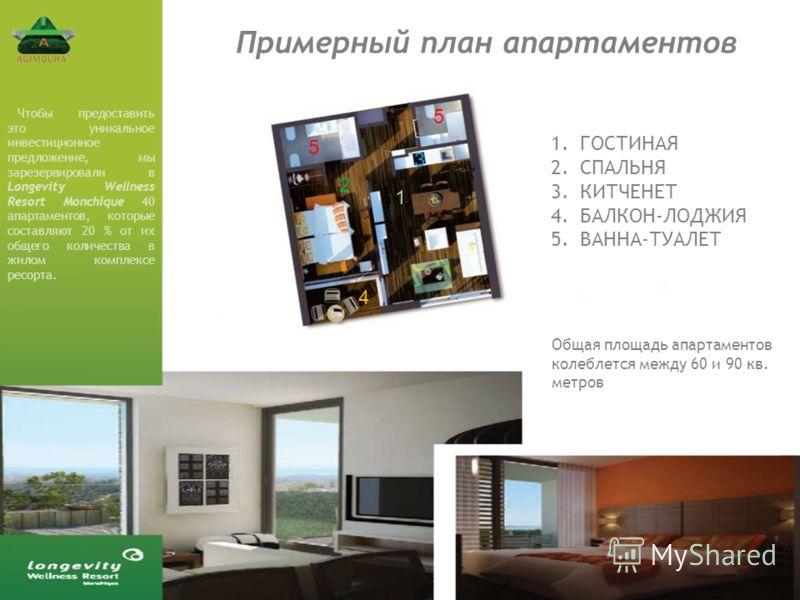 Примерный план апартаментов 1 2 3 4 5 5 1.ГОСТИНАЯ 2.СПАЛЬНЯ 3.КИТЧЕНЕТ 4.БАЛКОН-ЛОДЖИЯ 5.ВАННА-ТУАЛЕТ Общая площадь апартаментов колеблется между 60 и 90 кв. метров Чтобы предоставить это уникальное инвестиционное предложение, мы зарезервировали в L