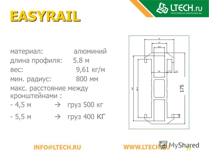 57 EASYRAIL материал: алюминий длина профиля:5.8 м вес: 9,61 кг/м мин. радиус: 800 мм макс. расстояние между кронштейнами : - 4,5 м груз 500 кг - 5,5 м груз 400 кг 175