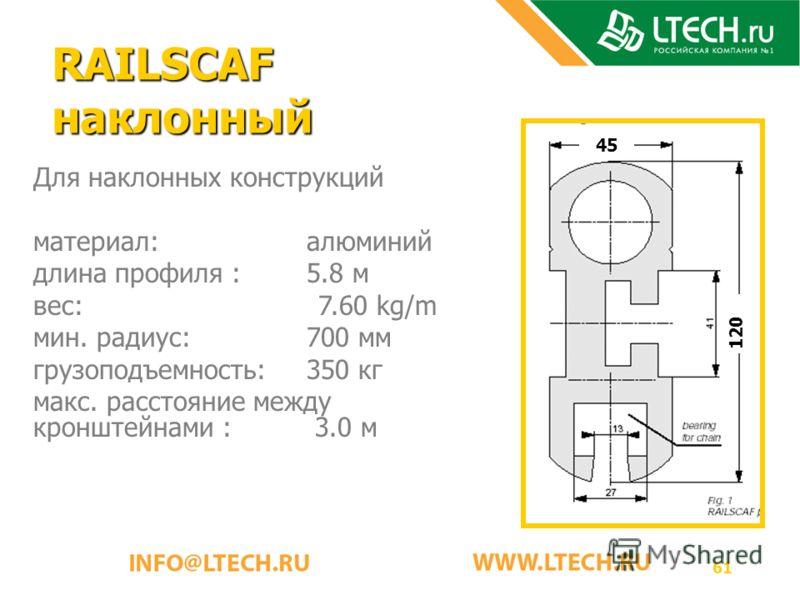 61 RAILSCAF наклонный Для наклонных конструкций материал: алюминий длина профиля : 5.8 м вес: 7.60 kg/m мин. радиус: 700 мм грузоподъемность: 350 кг макс. расстояние между кронштейнами : 3.0 м 120 45