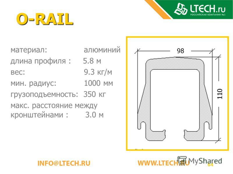64 O-RAIL материал: алюминий длина профиля : 5.8 м вес: 9.3 кг/м мин. радиус: 1000 мм грузоподъемность: 350 кг макс. расстояние между кронштейнами : 3.0 м 110 98