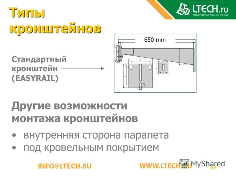 69 Типы кронштейнов Стандартный кронштейн (EASYRAIL) Другие возможности монтажа кронштейнов внутренняя сторона парапета под кровельным покрытием 650 mm