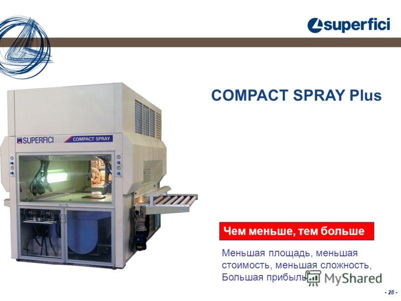 - 28 - COMPACT SPRAY Plus Чем меньше, тем больше Меньшая площадь, меньшая стоимость, меньшая сложность, Большая прибыль