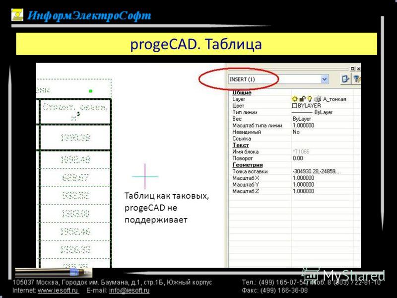 progeCAD. Таблица В ProgeCAD мы видим ту же ситуацию, но объект называется «INSERT» Таблиц как таковых, progeCAD не поддерживает