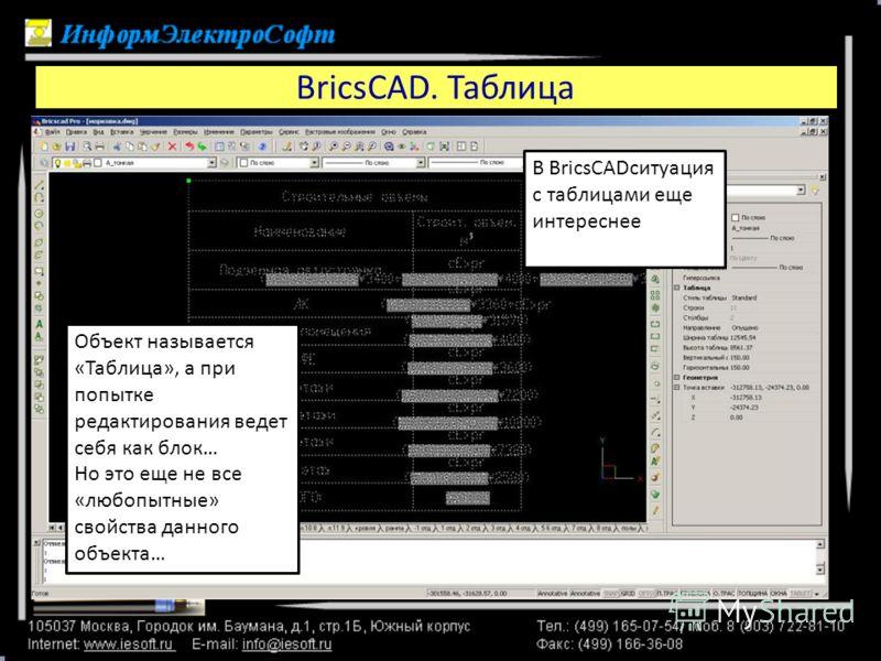 BricsCAD. Таблица В BricsCADситуация с таблицами еще интереснее Объект называется «Таблица», а при попытке редактирования ведет себя как блок… Но это еще не все «любопытные» свойства данного объекта…