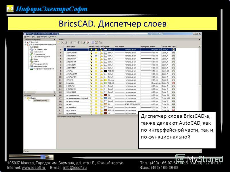 BricsCAD. Диспетчер слоев Диспетчер слоев BricsCAD-а, также далек от AutoCAD, как по интерфейсной части, так и по функциональной